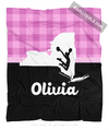 Golly Girls: Personalized Hometown Charm Black With Pink Cheerleading Fleece Throw Blanket