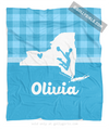 Golly Girls: Personalized Hometown Charm Blue Cheerleading Fleece Throw Blanket