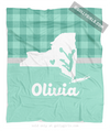 Golly Girls: Personalized Hometown Charm Mint Cheerleading Fleece Throw Blanket