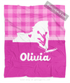 Golly Girls: Personalized Hometown Charm Pink Cheerleading Fleece Throw Blanket