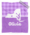 Golly Girls: Personalized Hometown Charm Purple Cheerleading Fleece Blanket