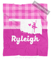 Golly Girls: Personalized Hometown Charm Pink Dance Fleece Throw Blanket
