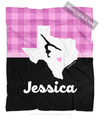 Golly Girls: Personalized Hometown Charm Black With Pink Gymnastics Fleece Blanket