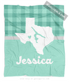 Golly Girls: Personalized Hometown Charm Mint Gymnastics Fleece Throw Blanket