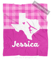 Golly Girls: Personalized Hometown Charm Pink Gymnastics Fleece Blanket