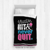 Golly Girls: Hustle Hit Never Quit Black Softball Comforter