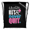 Golly Girls: Hustle Hit Never Quit Softball Black Drawstring Backpack