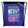 Golly Girls: Hustle Hit Never Quit Softball Blue Drawstring Backpack
