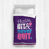 Golly Girls: Hustle Hit Never Quit Purple Softball Twin Comforter