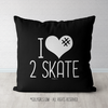 I Hashtag Heart 2 Skate Black Throw Pillow - Golly Girls