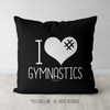 I Hashtag Heart Gymnastics Black Throw Pillow