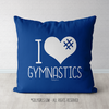 I Hashtag Heart Gymnastics Blue Throw Pillow
