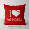 I Hashtag Heart Gymnastics Red Throw Pillow