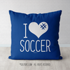I Hashtag Heart Soccer Blue Throw Pillow - Golly Girls