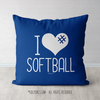 I Hashtag Heart Softball Blue Throw Pillow - Golly Girls