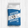 Golly Girls: Personalized Jersey Style Name Plus Number Blue Soccer Twin Comforter