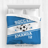 Golly Girls: Personalized Jersey Style Name Plus Number Blue Soccer Queen Comforter