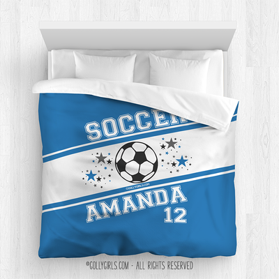 Golly Girls: Personalized Jersey Style Name Plus Number Blue Soccer Comforter
