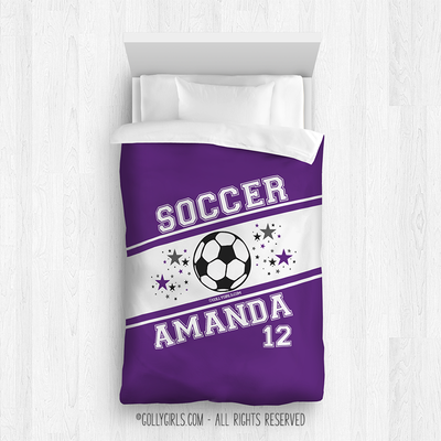 Golly Girls: Personalized Jersey Style Name Plus Number Purple Soccer Comforter