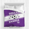 Golly Girls: Personalized Jersey Style Name Plus Number Purple Soccer Queen Comforter