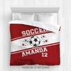 Golly Girls: Personalized Jersey Style Name Plus Number Red Soccer Queen Comforter
