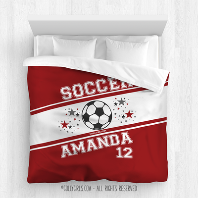 Golly Girls: Personalized Jersey Style Name Plus Number Red Soccer Comforter