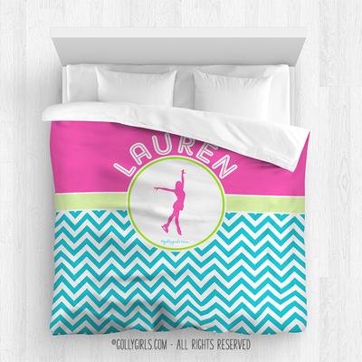 Golly Girls: Personalized Figure Skating Multi-Chevron Comforter