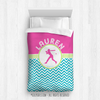 Golly Girls: Personalized Softball Multi-Chevron Twin Comforter