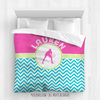 Golly Girls: Personalized Tennis Multi-Chevron Queen Comforter