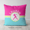 Personalized Multi-Color Chevron Softball Throw Pillow - Golly Girls
