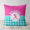 Personalized Multi Teal Gingham Softball Throw Pillow - Golly Girls