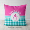 Personalized Multi Teal Gingham Tennis Throw Pillow - Golly Girls