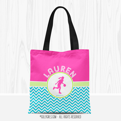 Golly Girls: Personalized Multi-Color Chevron Basketball Tote Bag