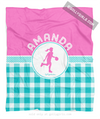 Golly Girls: Personalized Multi Teal Gingham Basketball Fleece Throw Blanket