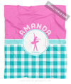 Golly Girls: Personalized Multi Teal Gingham Dance Fleece Throw Blanket