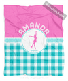 Golly Girls: Personalized Multi Teal Gingham Figure Skating Fleece Throw Blanket