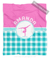 Golly Girls: Personalized Multi Teal Gingham Gymnastics Fleece Blanket