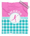 Golly Girls: Personalized Multi Teal Gingham Lacrosse Fleece Blanket