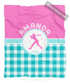 Golly Girls: Personalized Multi Teal Gingham Softball Fleece Throw Blanket