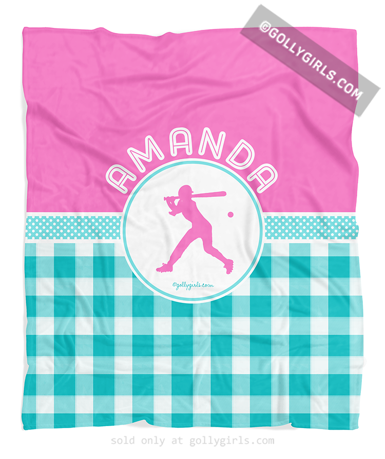Personalized Multi Teal Gingham Softball Fleece Throw Blanket Beauteous Softball Throw Blanket