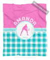 Golly Girls: Personalized Multi Teal Gingham Tennis Fleece Throw Blanket