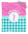 Golly Girls: Personalized Multi Teal Gingham Volleyball Fleece Throw Blanket