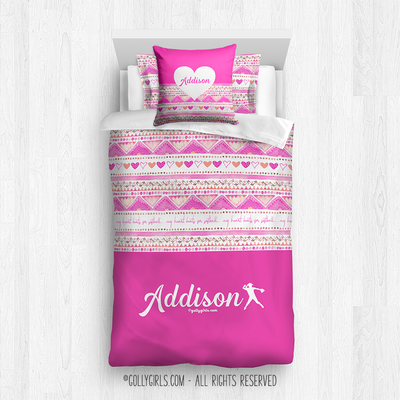 Golly Girls: My Heart Beats Personalized Softball Comforter Or Set