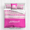 Golly Girls: My Heart Beats Personalized Tennis Queen Comforter Plus Sham Plus Pillow