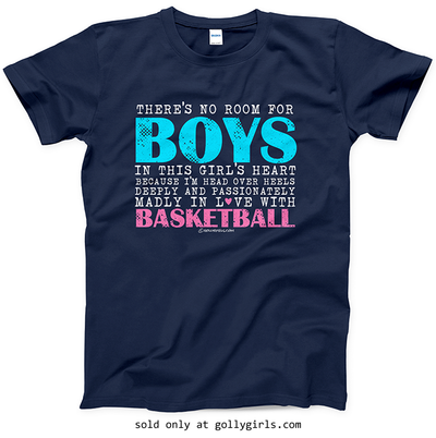 Golly Girls: No Room For Boys Basketball Navy T-Shirt (Youth & Adult Sizes)