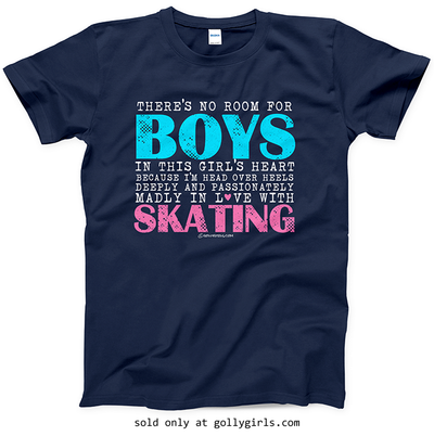 Golly Girls: No Room For Boys Skating Navy T-Shirt (Youth & Adult Sizes)