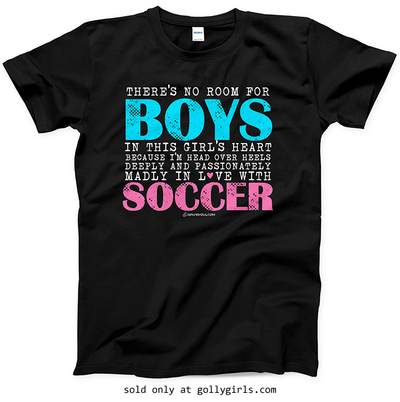 Golly Girls: No Room For Boys Soccer Black T-Shirt (Youth & Adult Sizes)