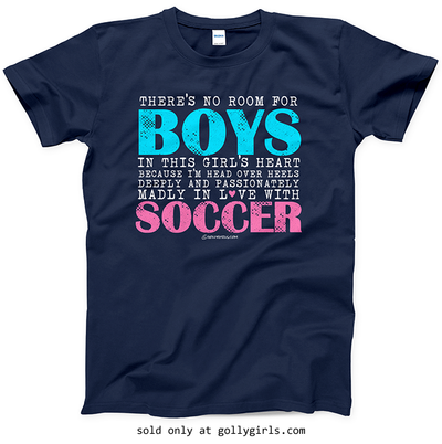 Golly Girls: No Room For Boys Soccer Navy T-Shirt (Youth & Adult Sizes)