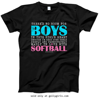 Golly Girls: No Room For Boys Softball T-Shirt (Youth-Adult)