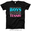 Golly Girls: No Room For Boys Tennis Black T-Shirt (Youth & Adult Sizes)